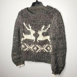 Free People Reindeer Chunky Fisherman Sweater sz S